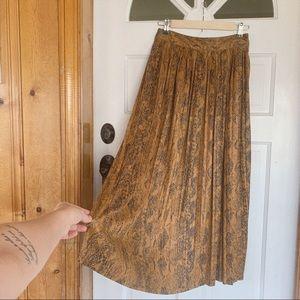 Zara High Rise Snake Skin Tea Length Skirt